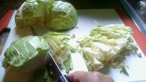 raw cabbage slicing shredding healthy eating recipe