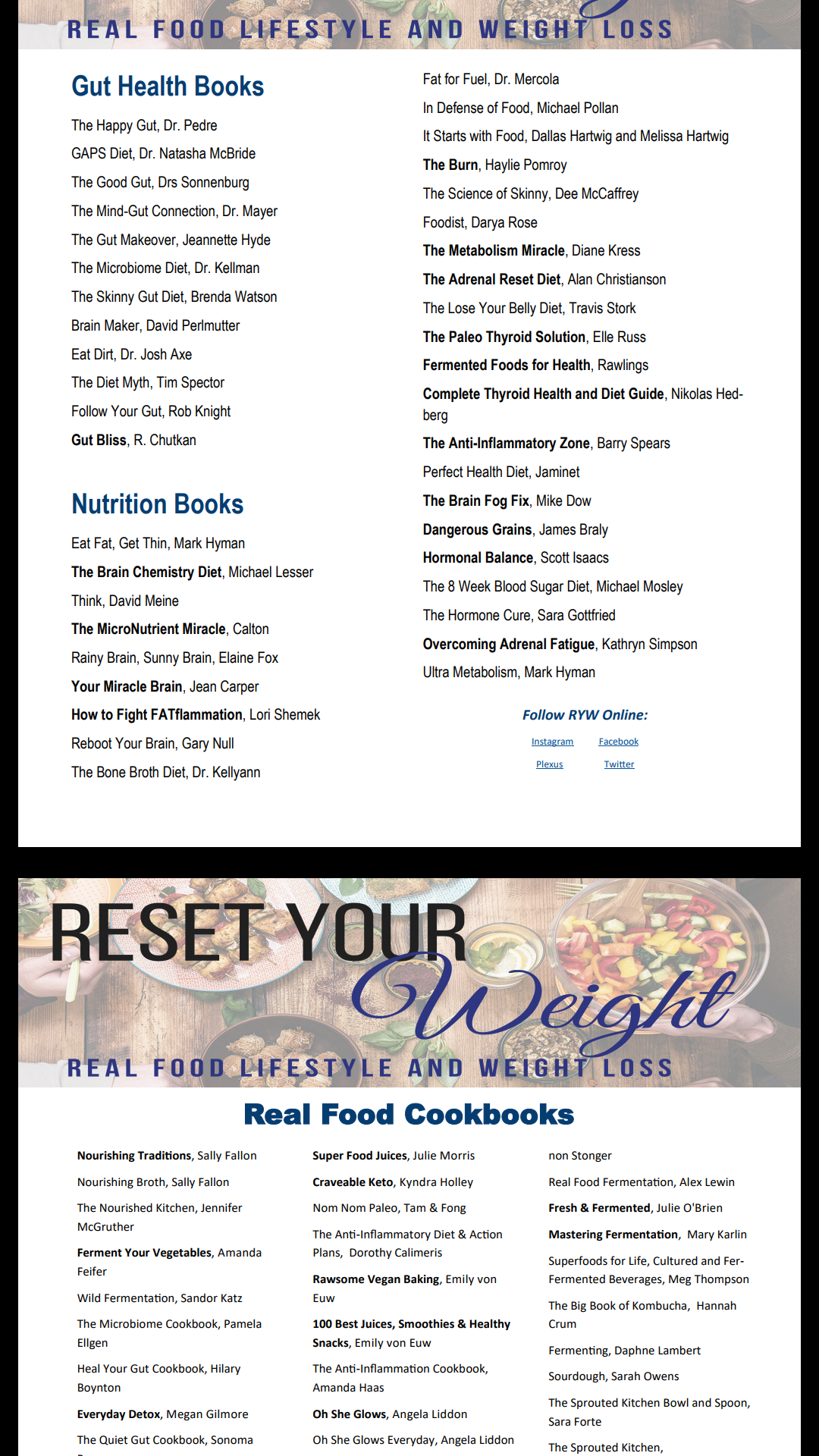 resources, weight loss, real food lifestyle, gut health, wellness, probiotics, cookbooks, nutrition
